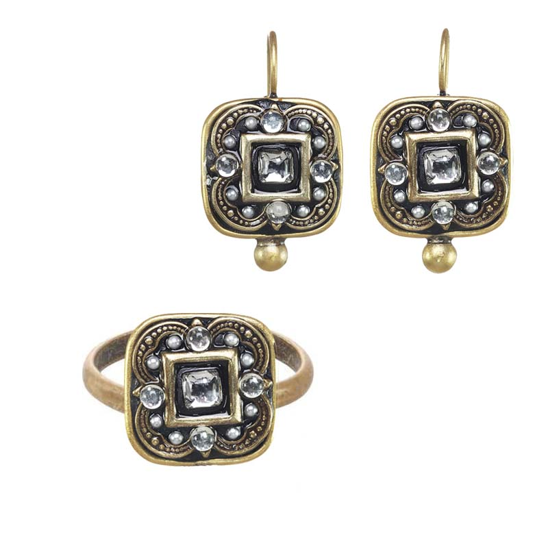 Iridescent Crystal Square Ring and Earrings Set