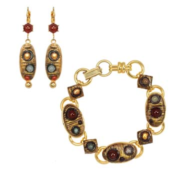 Bronze Age Long Oval Bracelet and Earrings Set