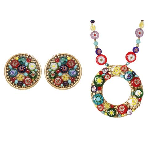 Multicolor Millefiori Bead Necklace and Clip Earrings Set