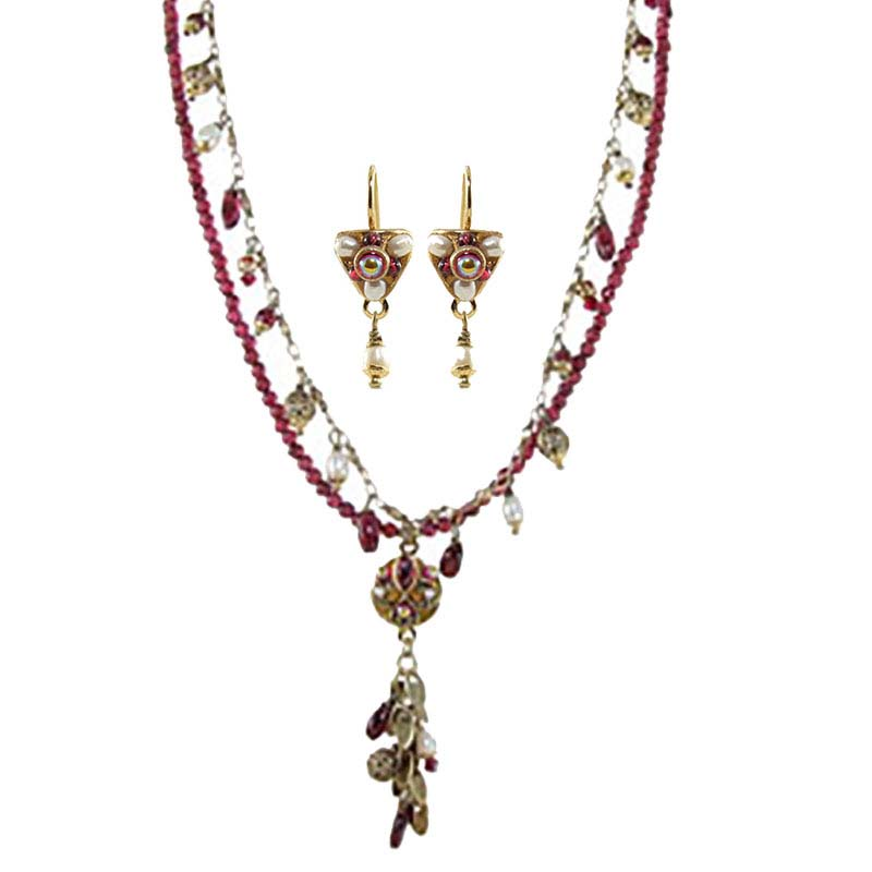 Garnet and Pearl Dangling Necklace and Earrings Set