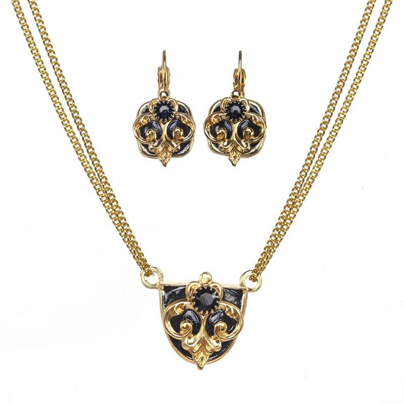 Black and Gold Shield Necklace and Earrings Set