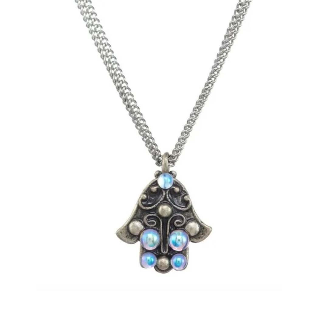 Silver and Opal Hamsa Necklace