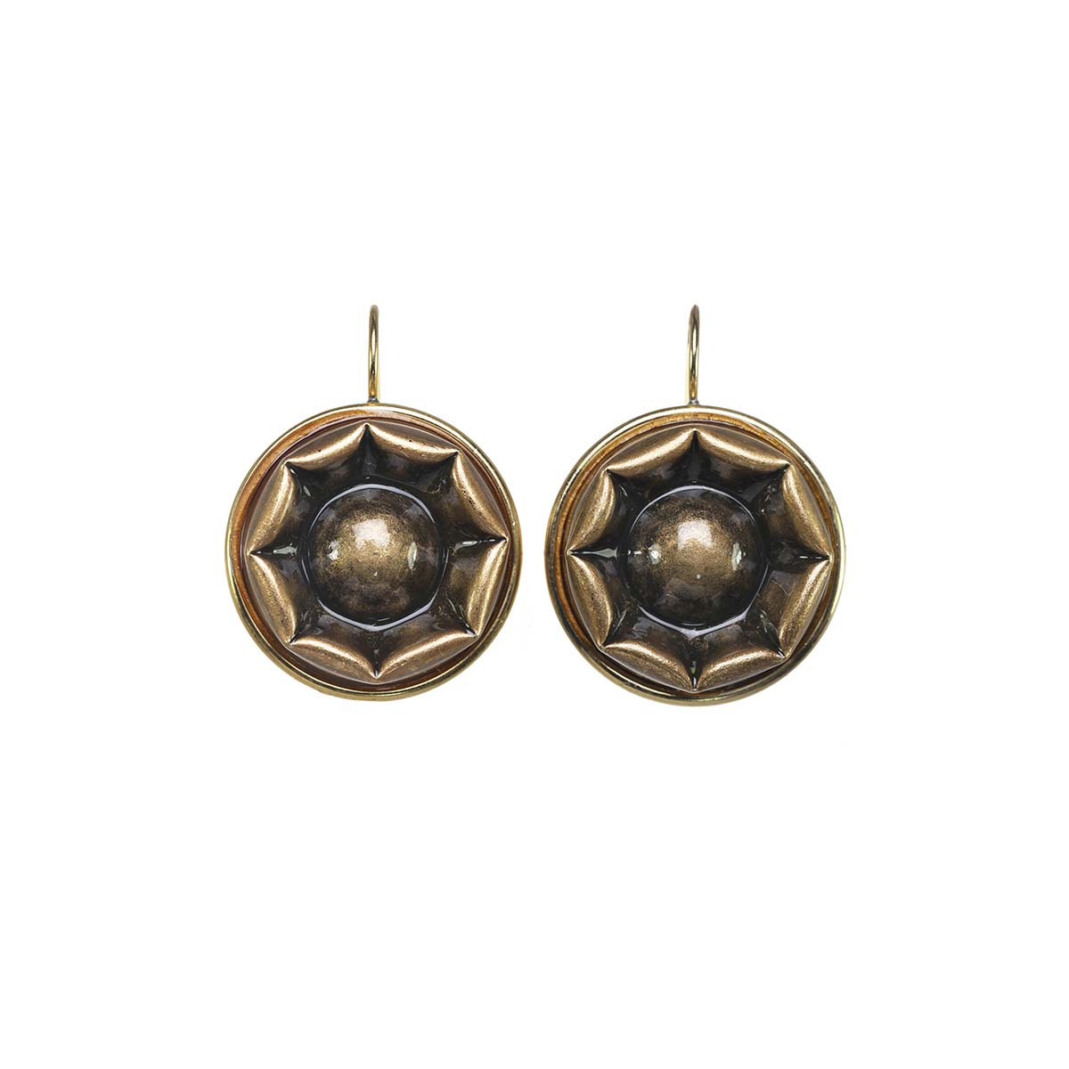 Large Gold Shield Earrings
