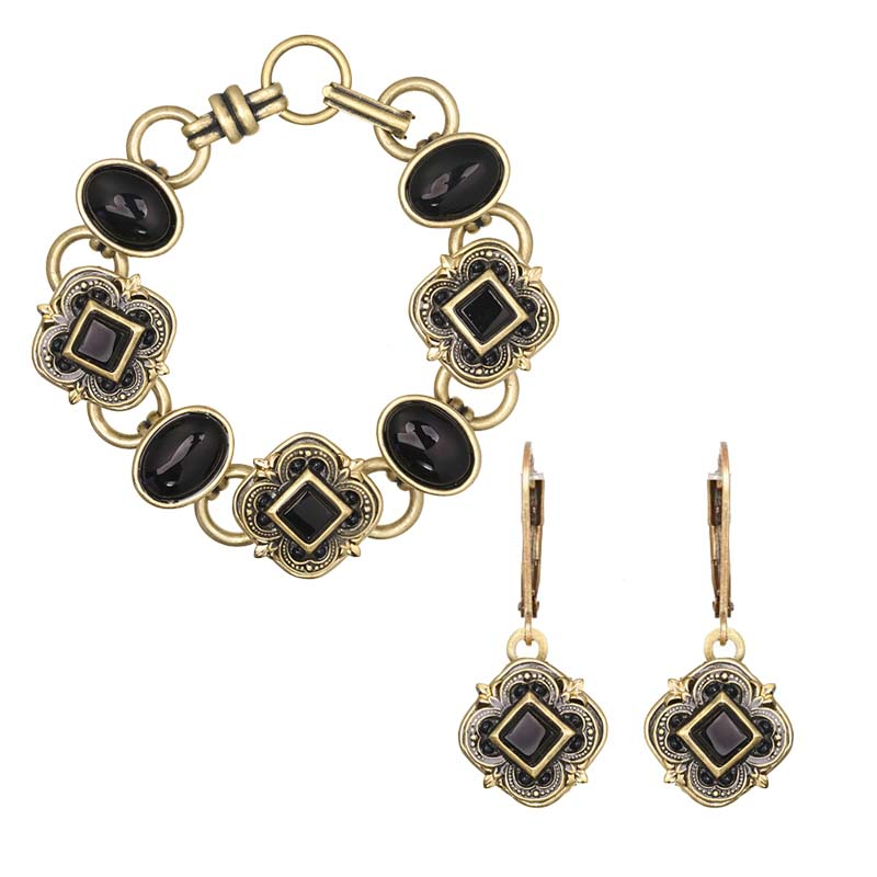 Onyx and Gold Bracelet and Earrings Set