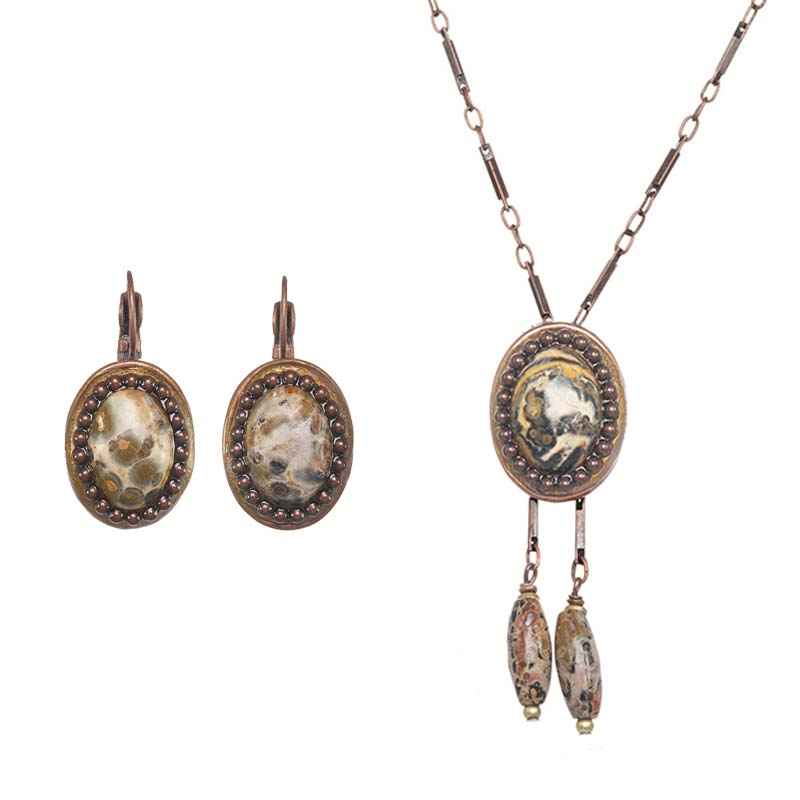 Leopard Oval Necklace and Earrings Set