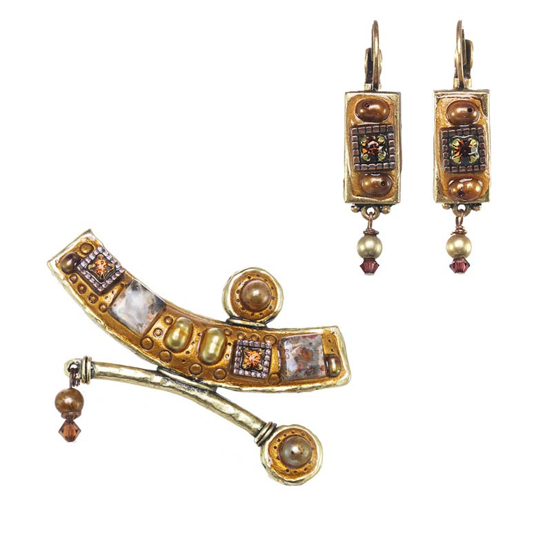 Gold Gemstone Brooch and Earrings Set