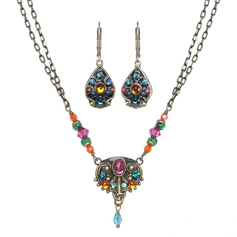 Prismatic Crystal Shield Necklace and Earrings Set