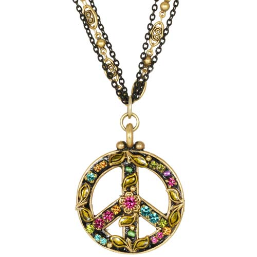 Midnight Garden Peace Sign Necklace