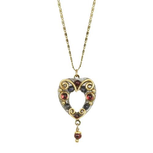 Garnet and Gold Open Heart Necklace