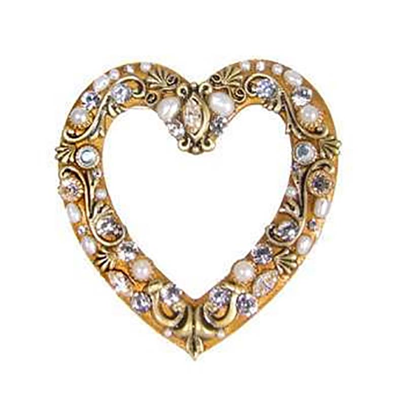 Gold and Pearl Heart Brooch