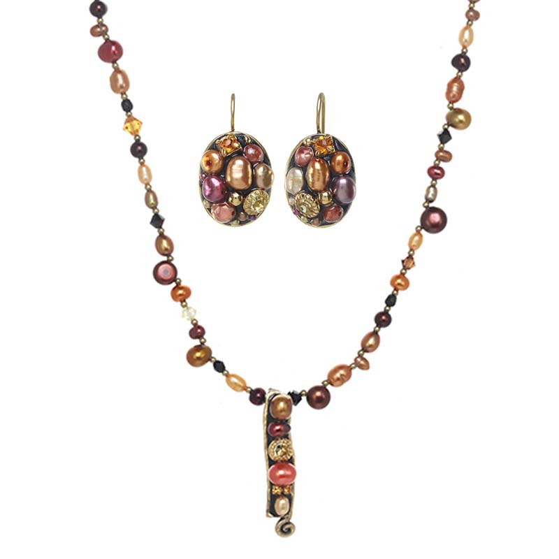 Sunset Pearl Necklace and Earrings Set