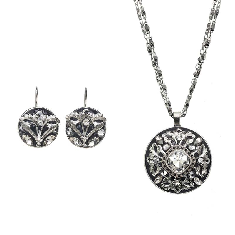 Silver Filigree Necklace and Earrings Set