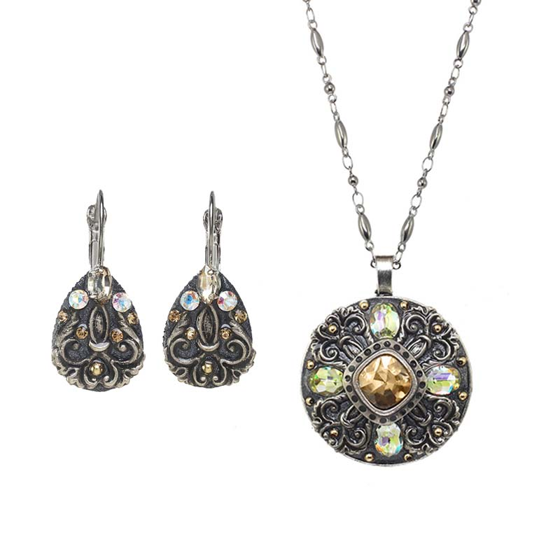 Cosmic Crystal Necklace and Earrings Set