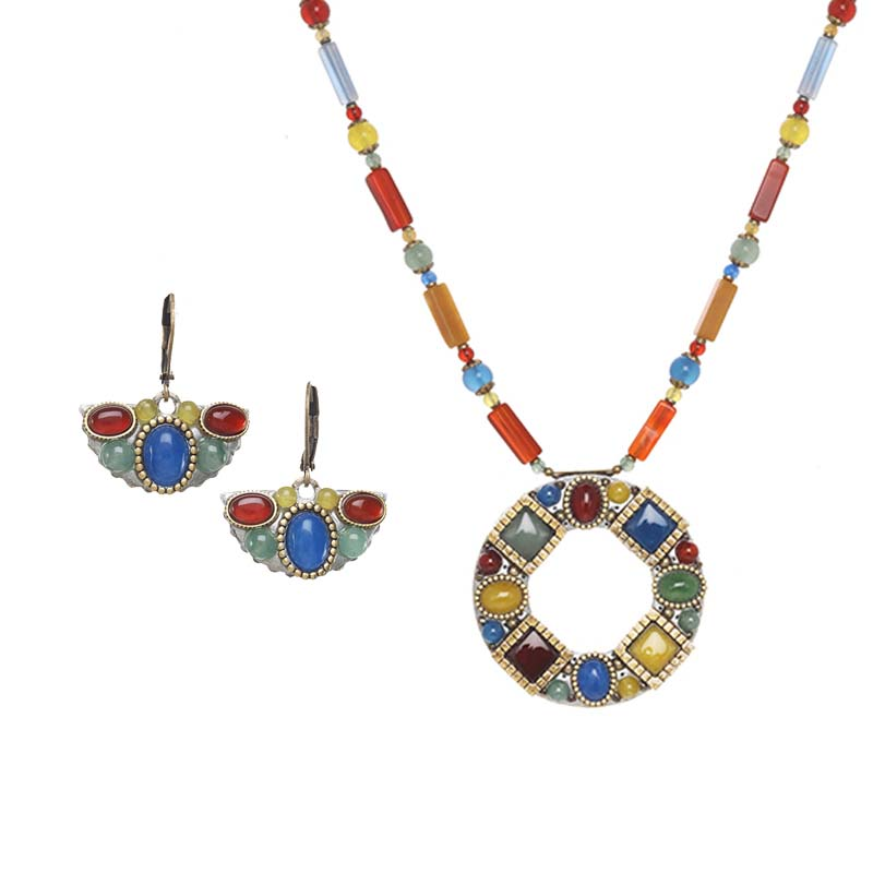 Gemstone Mosaic Necklace and Earrings Set