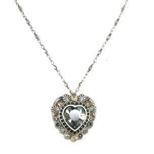 Black Diamond Crystal Silver Heart Necklace
