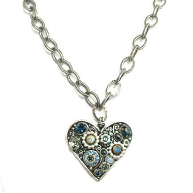 Blue Frost Large Heart Necklace