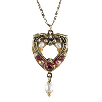 Garnet and Pearl Open Heart Necklace