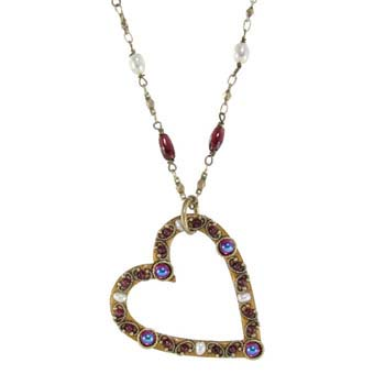Garnet and Pearl Open Heart Pendant Necklace