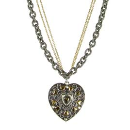 Metallika Large Heart Necklace on Double Beaded Chain