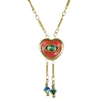 Red Heart Eye Necklace