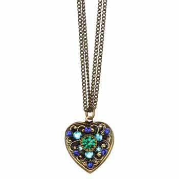 Blue and Green Crystal Heart Necklace