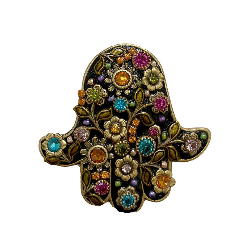 Midnight Garden Hamsa Brooch