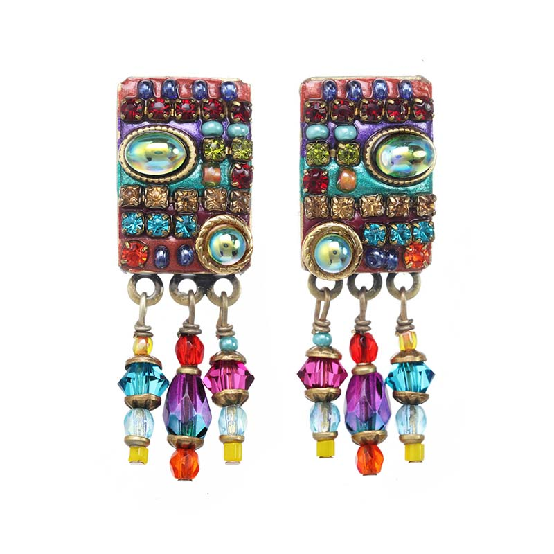 Multi Bright Dangling Rectangle Earrings