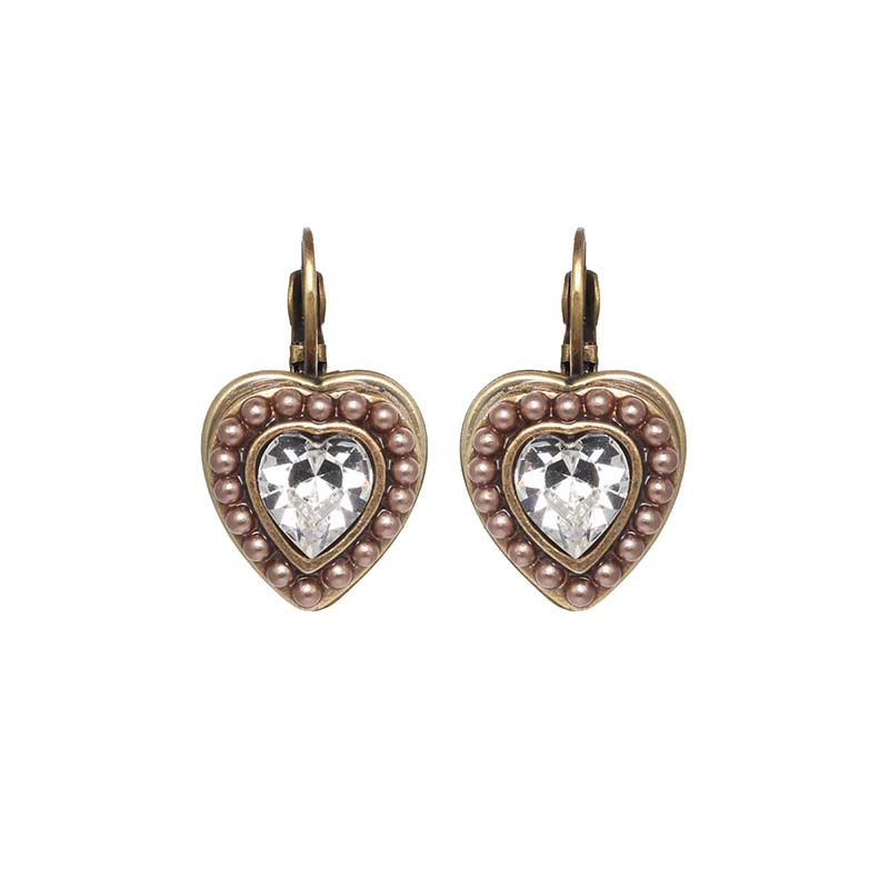 Small Gold and Pearl Heart Earrings