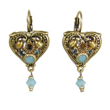 Blue Crystal and Gold Heart Earrings