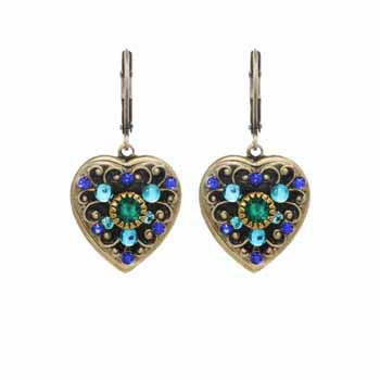 Blue and Green Crystal Heart Earrings