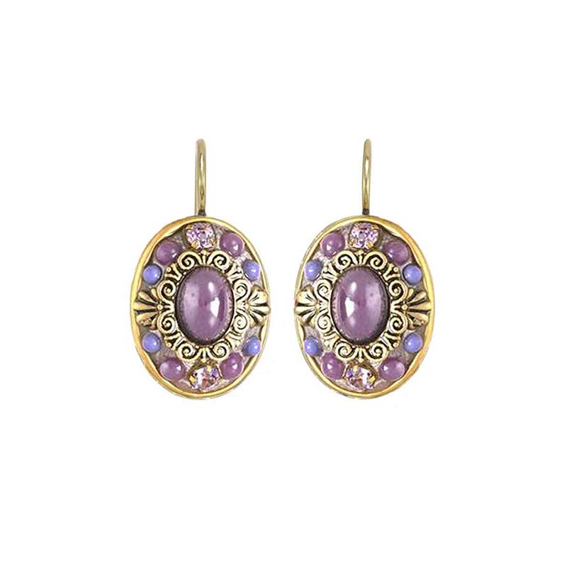 Lilac Oval Wire Earrings