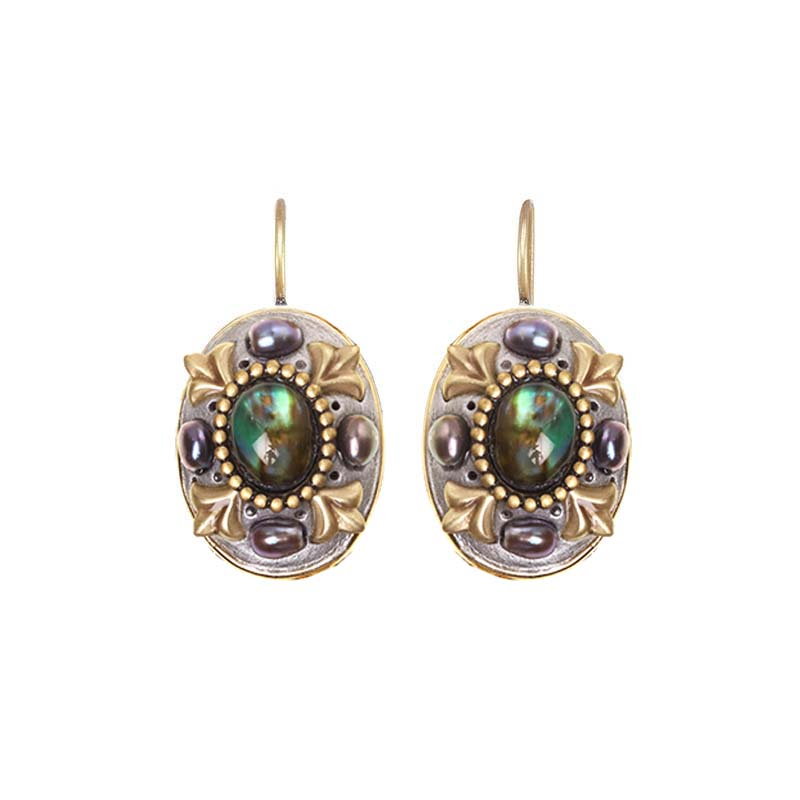 Abalone and Pearl Oval Earrings