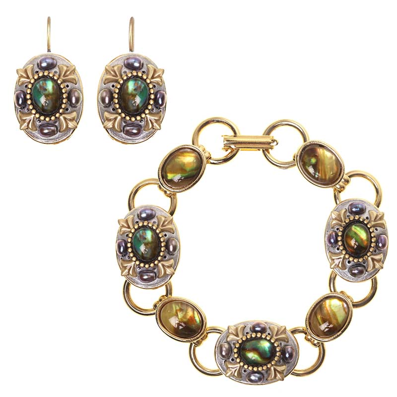 Abalone and Pearl Oval Bracelet and Earrings Set