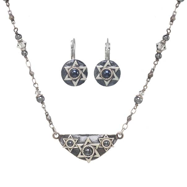 Hematite Star of David Necklace & Earrings Set
