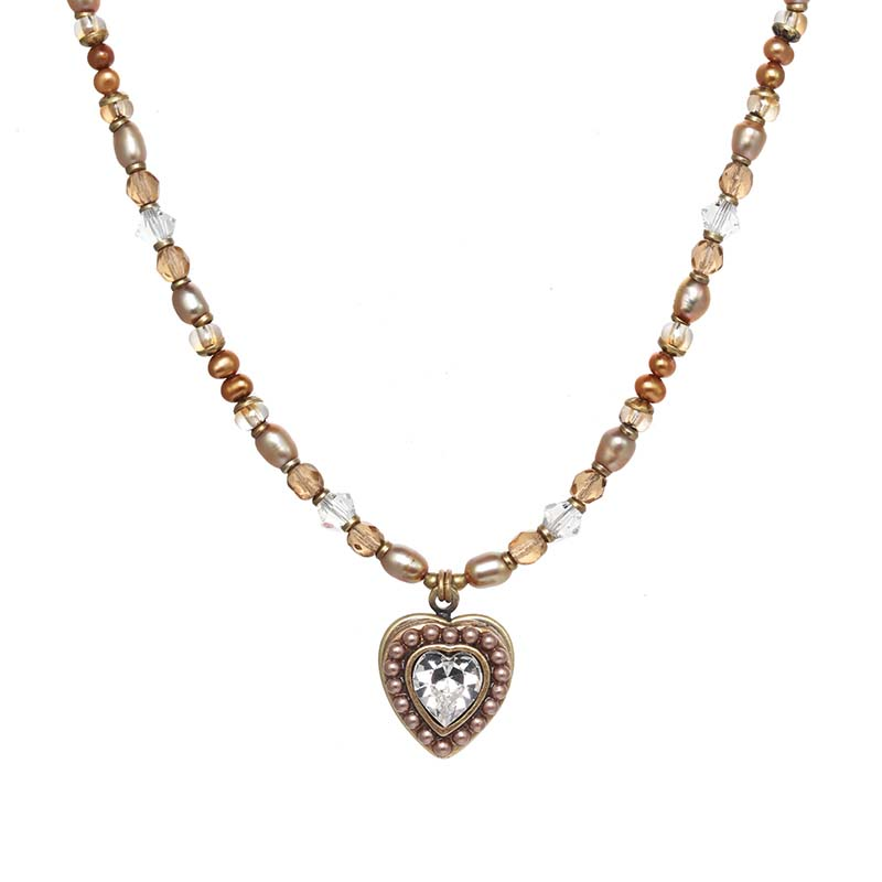 Small Gold and Pearl Heart Necklace