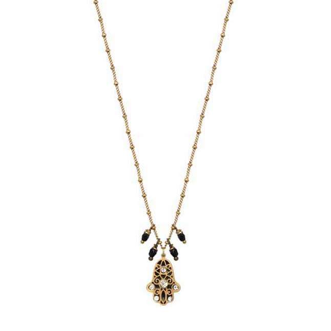 Black and Gold Hamsa Necklace