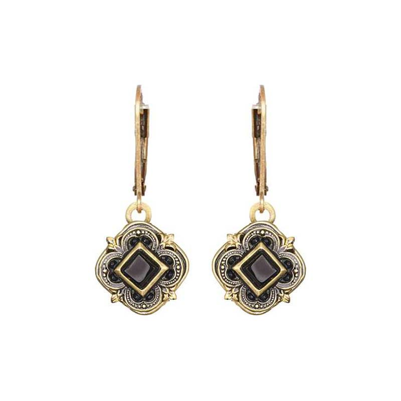 Onyx and Gold Dangling Earrings