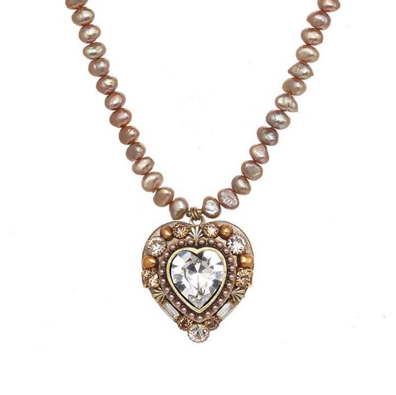 Large Gold and Pearl Heart Necklace