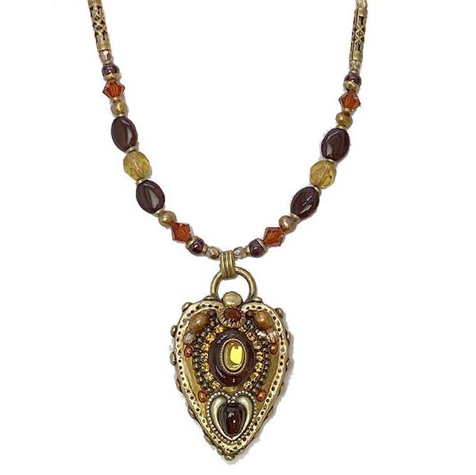 Amber and Green Heart Necklace
