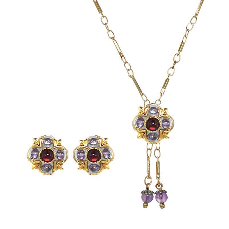 Garnet and Amethyst Post or Clip Flower Necklace and Earrings Set