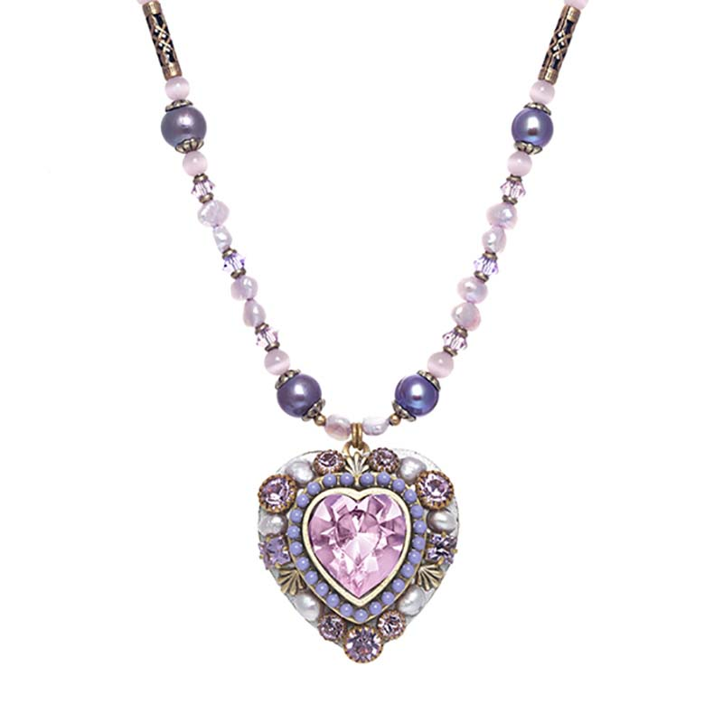 Large Purple and Pearl Heart Necklace