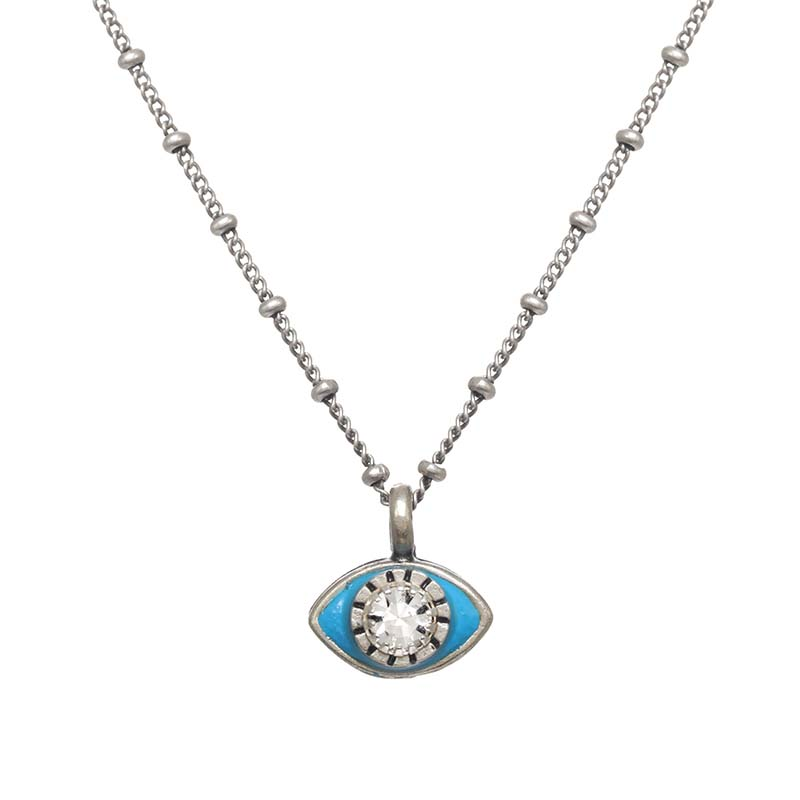 Mini Light Blue and Silver Eye Necklace