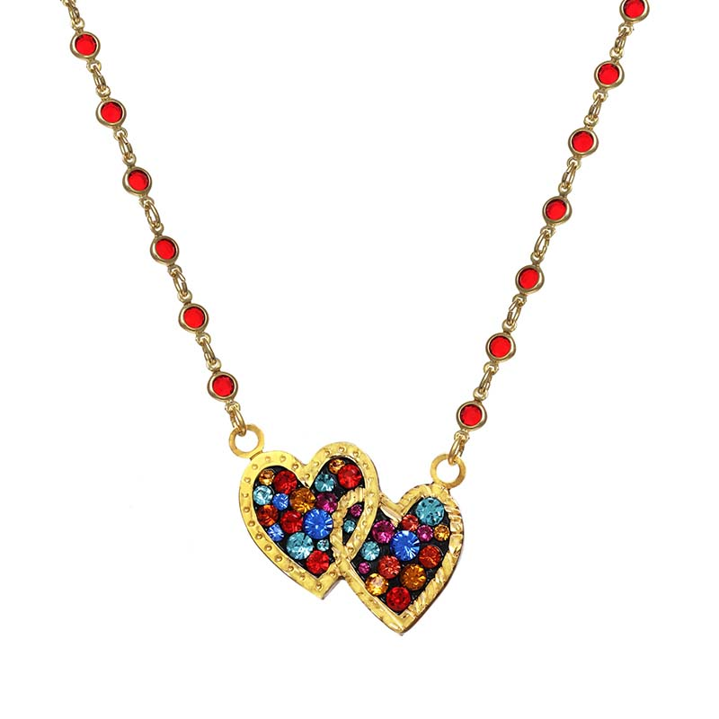 Cosmic Crystal Double Heart Necklace