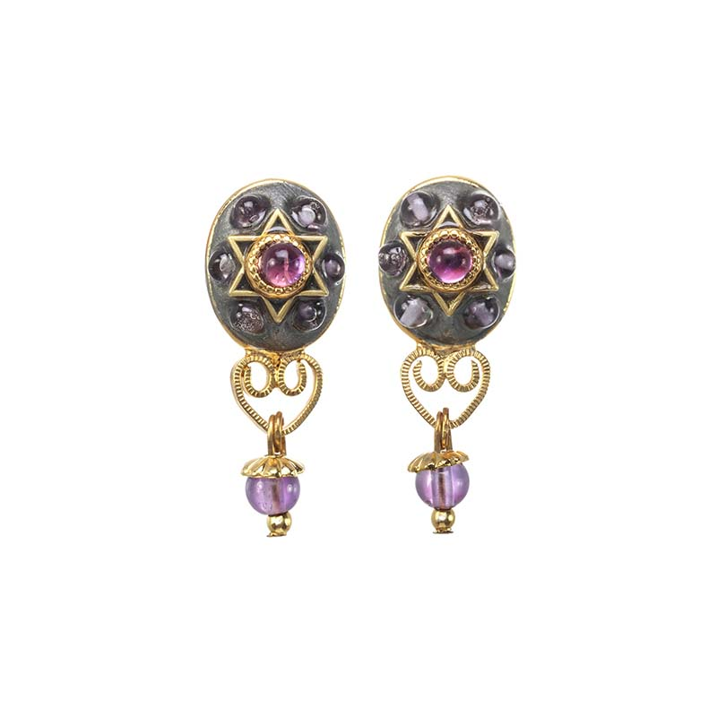 Amethyst and Garnet Star of David Oval Earrings