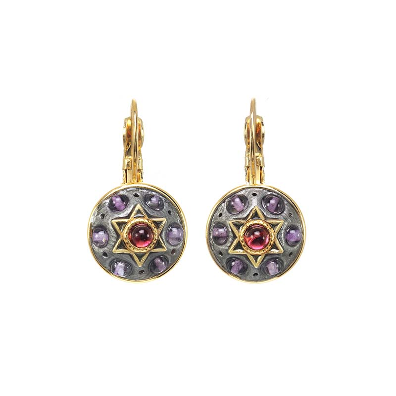 Amethyst and Garnet Star of David Circle Earrings