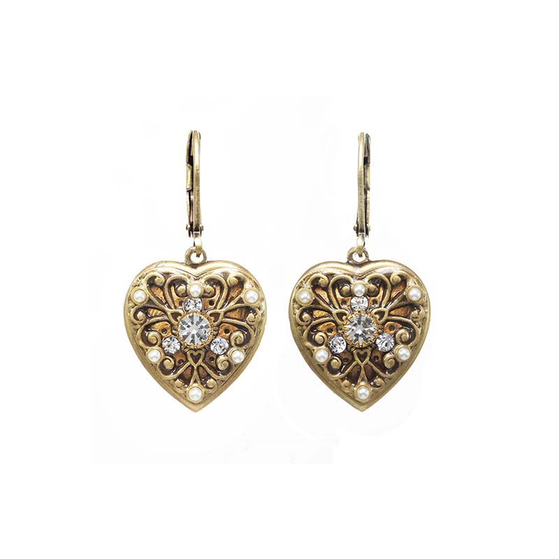 Small Gold Filigree and Crystal Heart Earrings