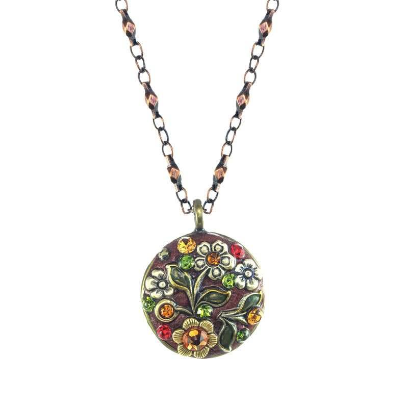 Rustic Floral Circle Necklace