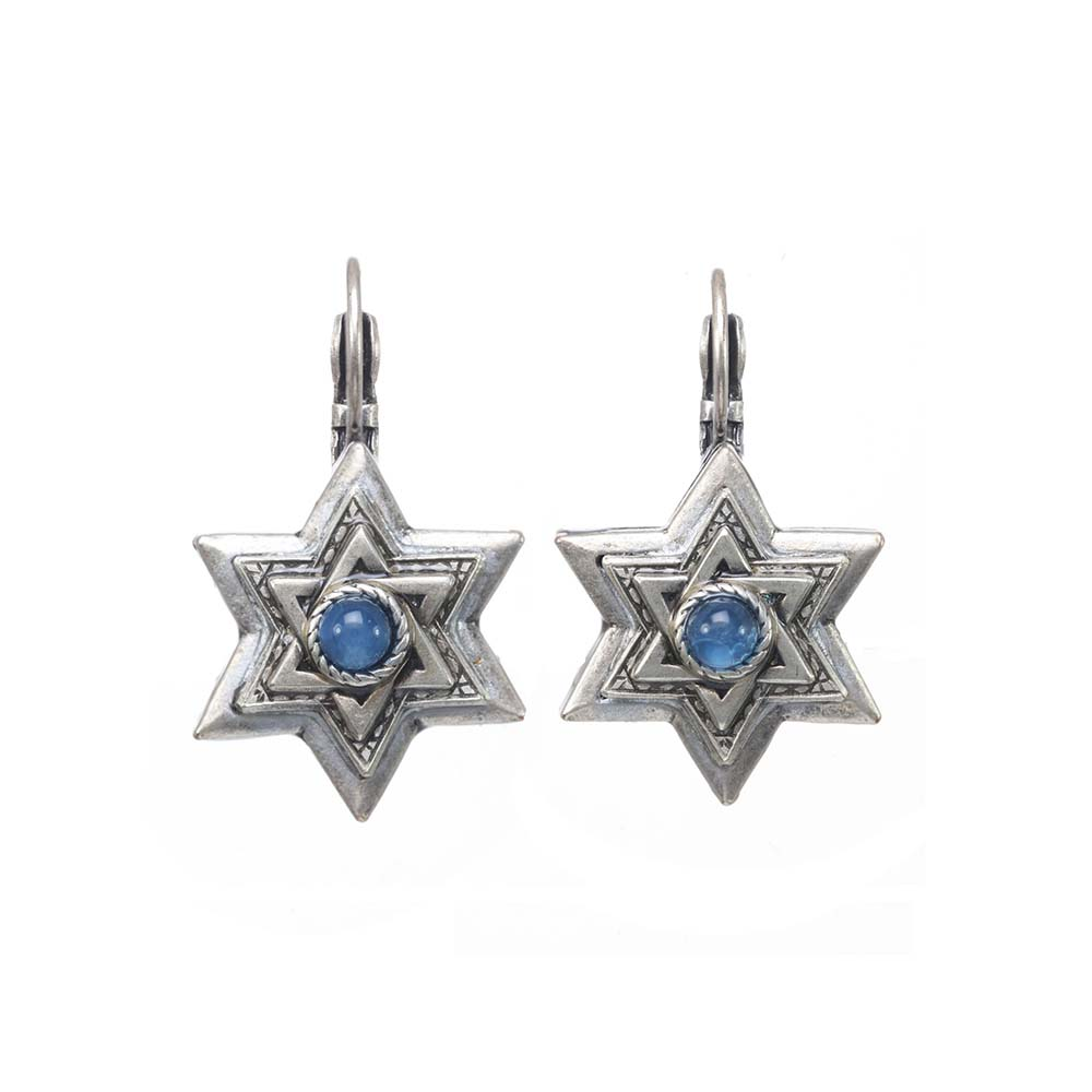 Silver and Cobalt Blue Star of David Earrings