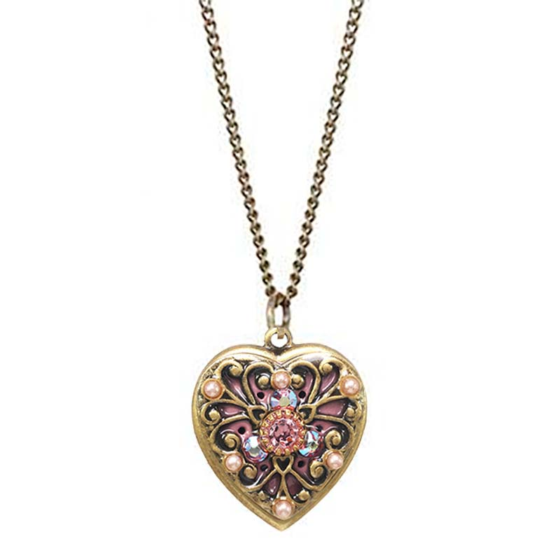 Gold Rose Gold Filigree Heart Necklace