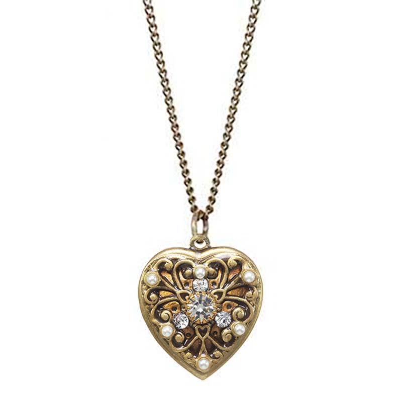 Gold Filigree Crystal Heart Necklace